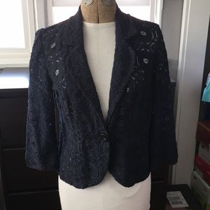 Tabitha Navy Blue Embroidered Blazer